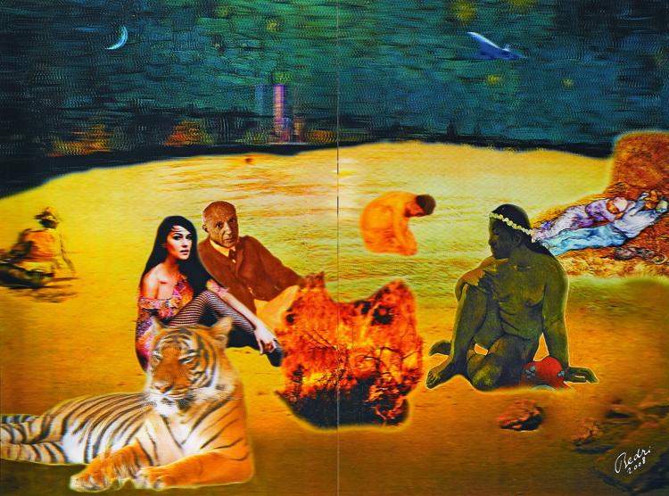 Bedri Baykam, The Ultimate Dejeuner (Son Akşam Yemeği), 2008, 4D Lenticuar, 183 x 244 cm.