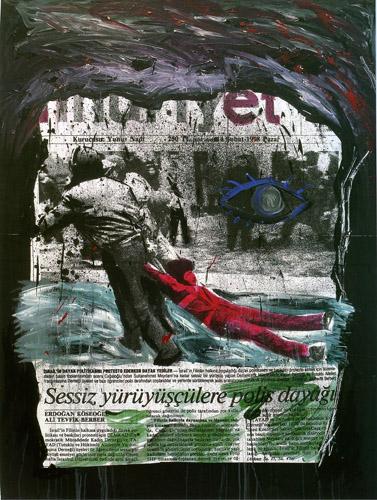 Sessiz Yürüyüşe Polis Dayağı, 177 x 132 cm. Sunta ü. fotopentür, 1998
