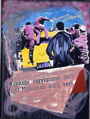Topkapı Olaylarının Emrini Menderes Vermiş, 180 x 130 cm. Sunta ü. fotomontaj