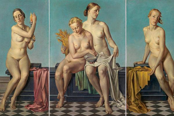 """Adolf Ziegler """"Dört element,"""" bir 1937 triptych vardı Hitler'in mantel. - Kopya"""