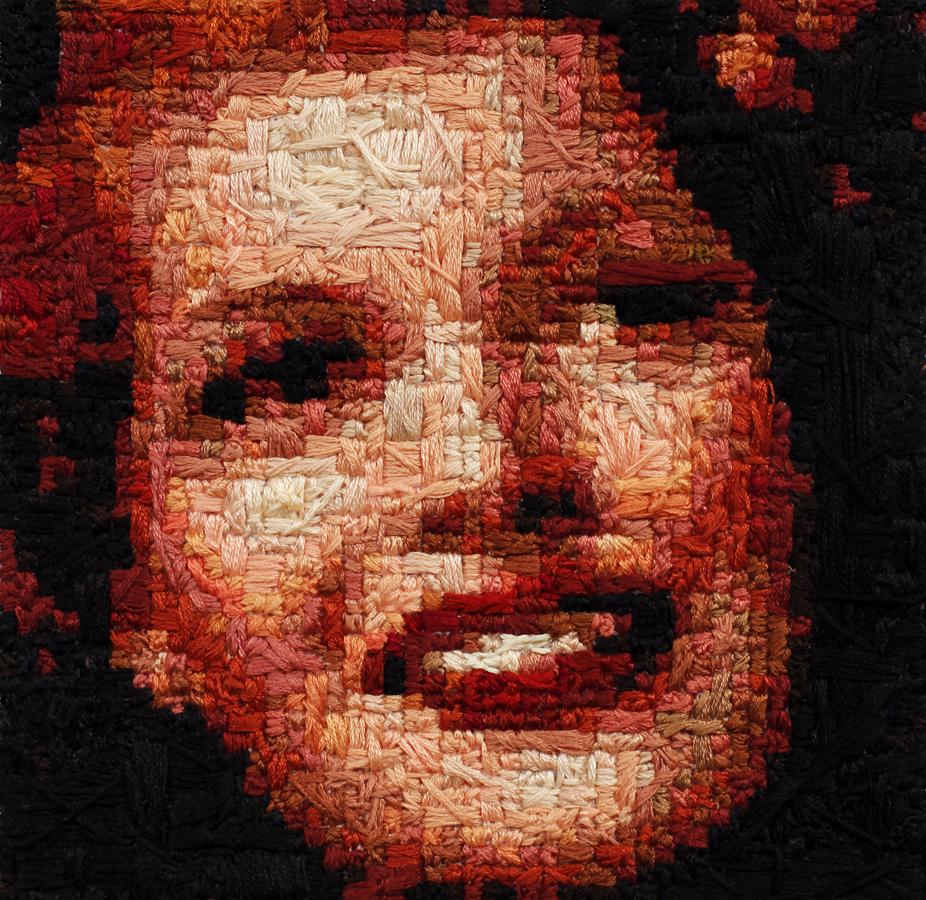 Rita Hayworth, 2012-13, thread on canvas, 5 34''X 5 34''.