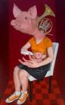 Atilla Galip Pinar, Domuz-Pig, 135cm x 85cm, tuval üzerine akrilik-acryclic on canvas, 2014