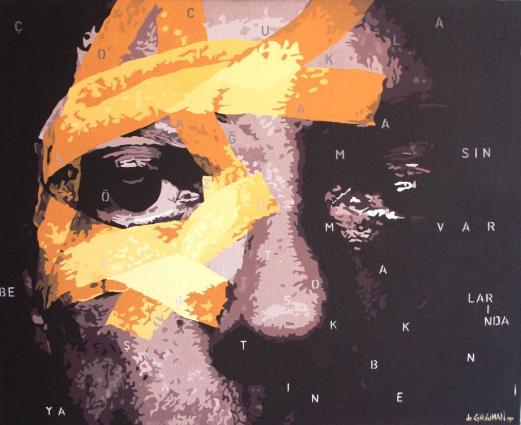 2009, Filistin Günlü-ü, T.Ü.Akr.B., 90 - 110 cm. Ümraniye Bel. geleneksel 5. Ya-l- Boya Resim Yar--mas- Mansiyon Ödülü, Ümraniye Bld. Kol.