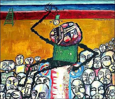 Ricardo-Ponce-Burlesque-People-Group-Modern-Age-Abstract-Art-Art-Brut