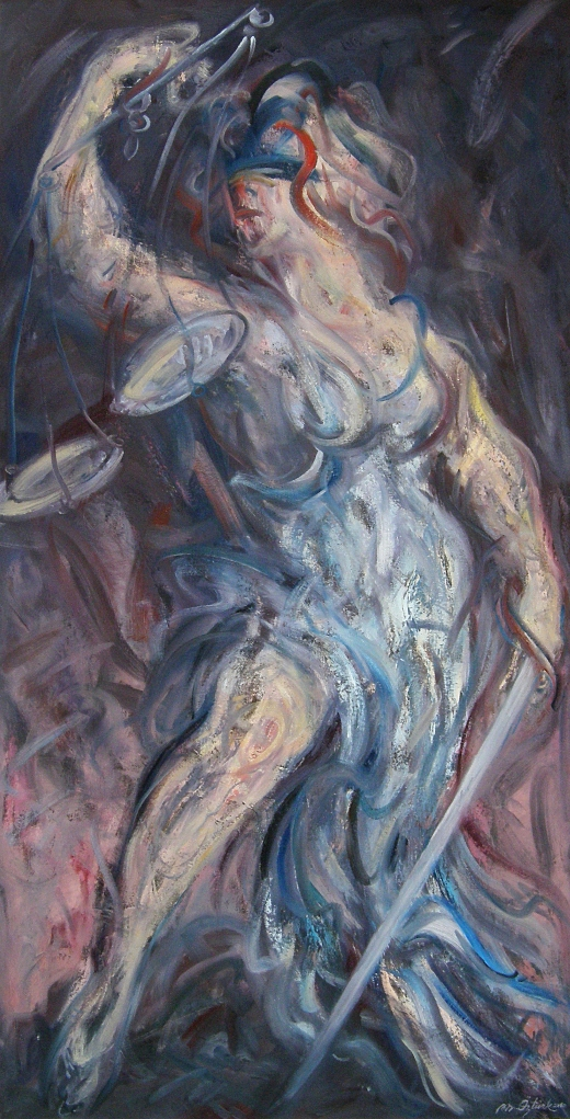 Mahmut Öztürk, Podyumda Tedirgin Adalet Tanrıçası, 197x110 cm., T.ü.y.b., 2010.