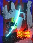 Ardan Özmenoğlu, Değmesin Yağlıboya-  Watch Out, 197 x 158 cm, tuval üzeri yağlıboya ve mavi, turuncu neon yerleştirme, oil on canvas and blue, orange neon tubing, 2015.