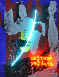 Ardan Özmenoğlu, Değmesin Yağlıboya-  Watch Out, 197 x 158 cm, tuval üzeri yağlıboya ve mavi, turuncu neon yerleştirme, oil on canvas and blue, orange neon tubing, 2015.