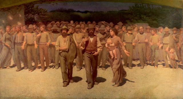 Giuseppe Pellizza da Volpedo, 'Il quarto stato', tuval üzerine yağlıboya, 1901. Taner Ceylan bu tabloyu 14. İstanbul Bienali için bire bir yeniden yaptı.