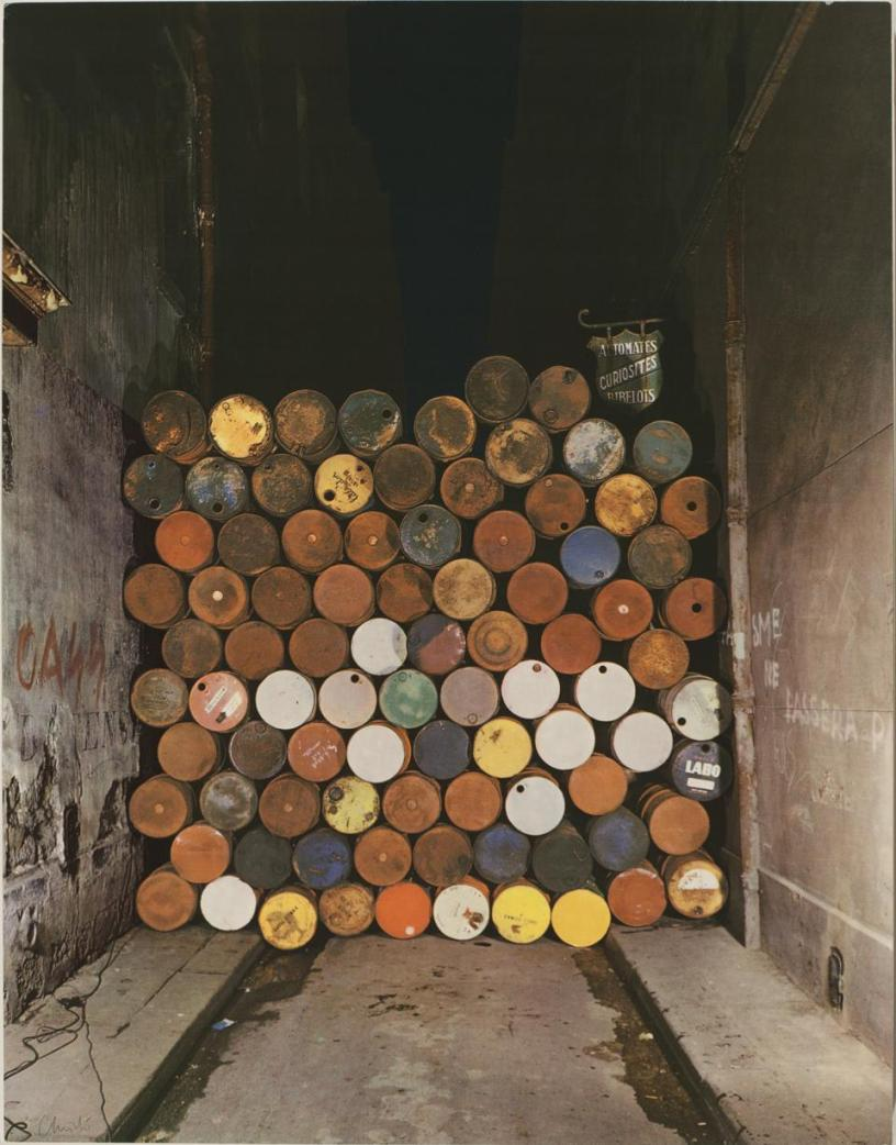 Christo and Jeanne Claude, Iron Curtain, Wall Of Oil Barrels, Rue Visconti, Paris, 1962
