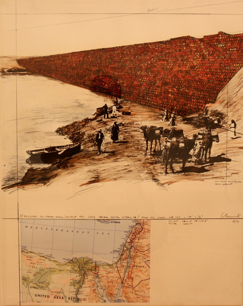 Christo and Jeanne-Claude_The Million Oil Drums Wall_Project For The Suez Canal_1972