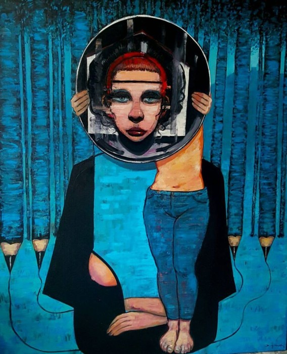 """Ayna Benlik / Looking Glass Self"" 165 x 135 cm oil on canvas 2016 ( private collection)"