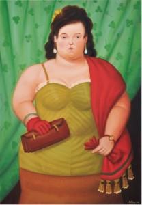 Fernando Botero, Cüzdanlı Kadın 2010, tuval üzeri yağlı boya, 81x56cm