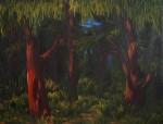 """6- Ahmet Yeşil, """"Kırmızı Ağacın Öyküsü"""", 2007, tuval üzerine akrilik, 90 x120 cm."""