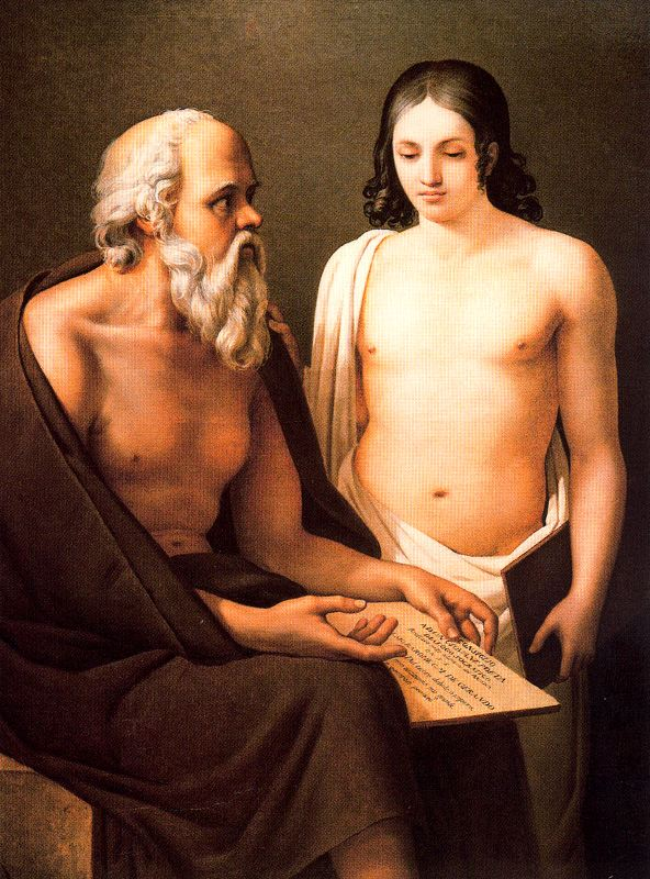 "José Aparicio Inglada ""Socrates Teaching a Young Man"", 1811, oil on canvas, Musée Goya."
