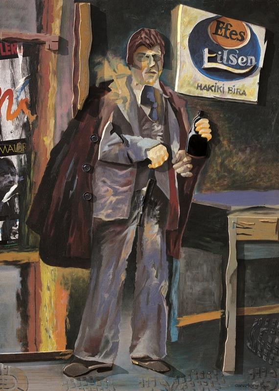 Caner Karavit, Ayşe Kadınlı Deli Sabri, 100 X 70 cm., mdf üzerine karışık malzeme ve yağlı boya