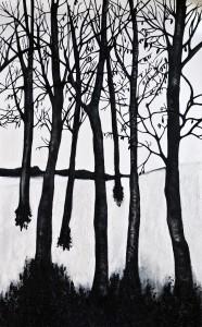 Özge Enginöz, Çünkü bizler karda ağaç gövdeleri gibiyiz, 2018, Tuval Üzerine Karışık Teknik, 242 x 150 cm