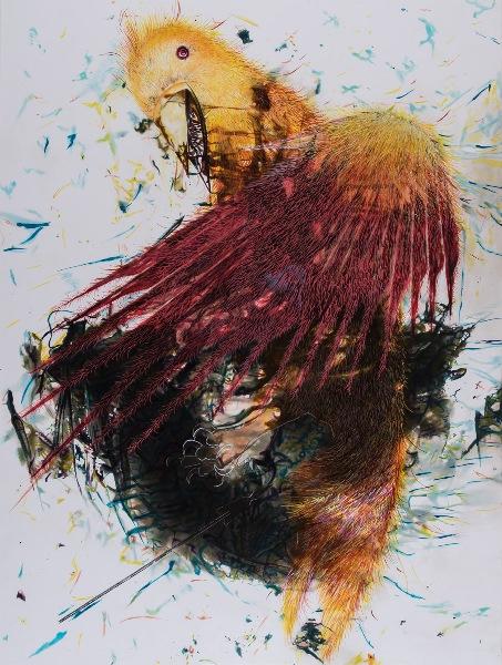 6-Stymphalos Kuşları-2, 2015, Fotoğraf kağıdı üzerine karışık teknik, 142x106 cm.