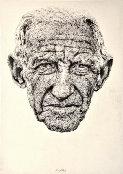 ali zülfikar // the cuban // 200x140 cm // 2016 // pencil on canvas