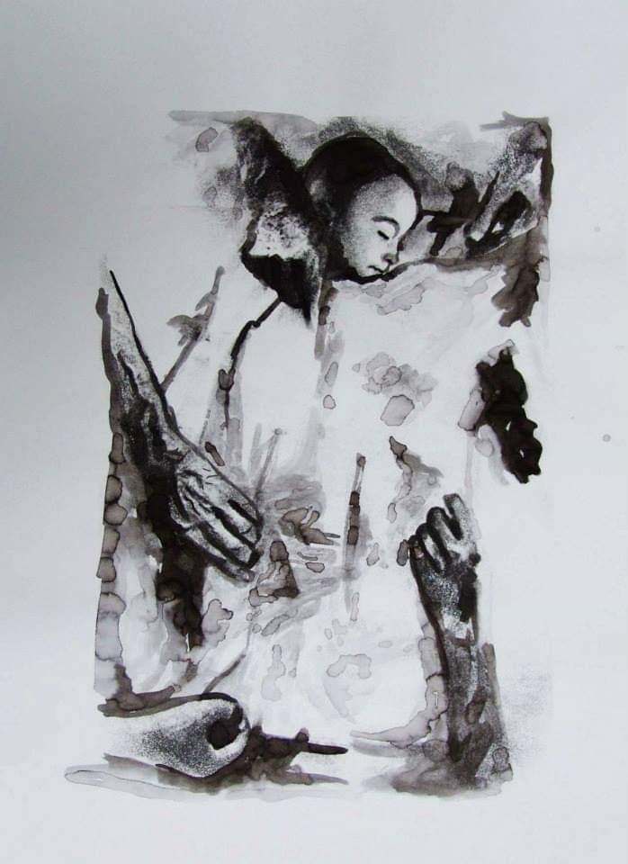 Eda Çığırlı, Savaş, 70x50 cm., kağıt üzerine mürekkep, 2010,Nezih Çavuşoğlu Koleksiyonu