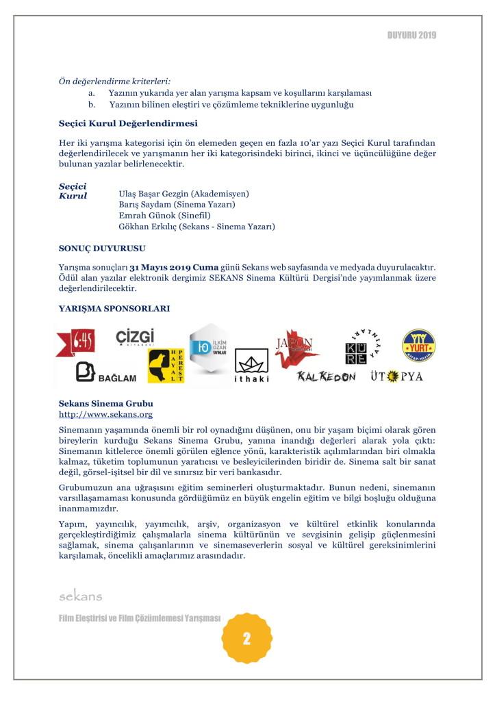 SEKANS FİLM ELEŞTİRİSİ YARIŞMASI-2019-2